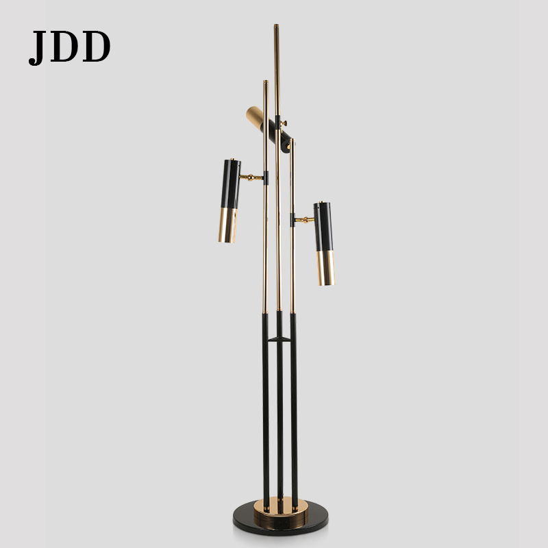 Postmodern simple creative fashion three black gold cylindrical aluminum designer villa living room decorated floor lamp