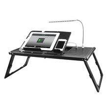 Small retractable study laptop table with led light