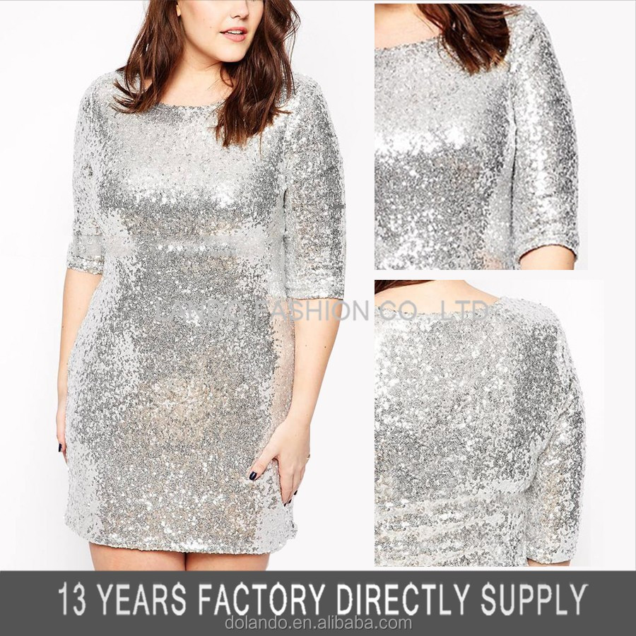 Mid Sleeve All Over Sequin Christmas Bodycon 3xl Wholesale Plus Size Clothing