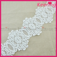 Latest fashion floral embroidered lace for wedding veil