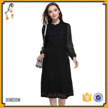 Stylish Black Lace Long Sleeve Ladies Fashion Simple Dress 2017 Design Frock For Wholesale
