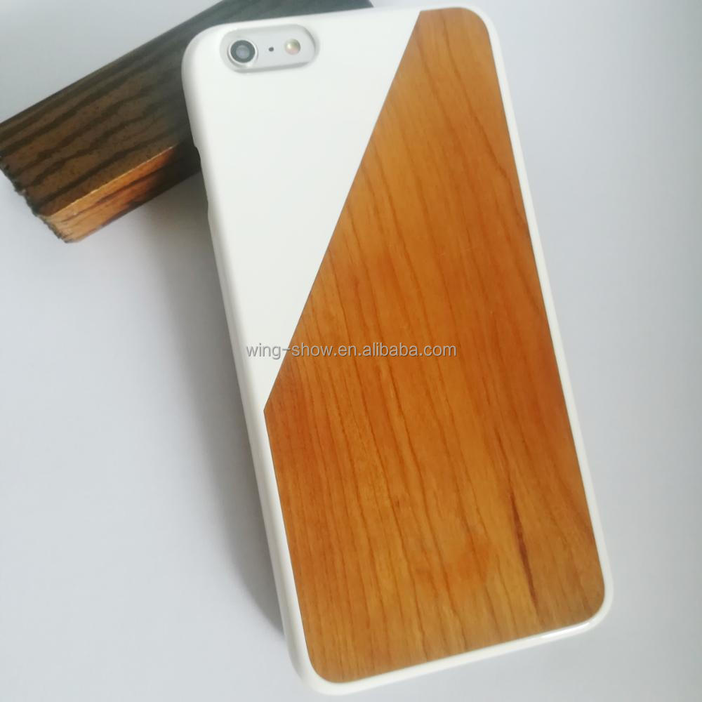 stylish real wood+PC bumper cell phone cases for iphone 6 Plus,cell phone accessories