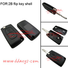 Plastic Car Key Case Citroen flip Remote Key fobs Shell 2 buttons no battery holder