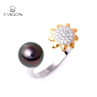 Hangzhou Sharon Fashion S925 Sterling Silver Mounting Pearl Ring Golden Sunflower Women Accessories For Sale