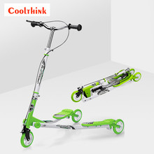 Gold Supplier Scooter Manufacturer 125X24Mm 3 Wheel Hand Brake Children Push Swing Scooter