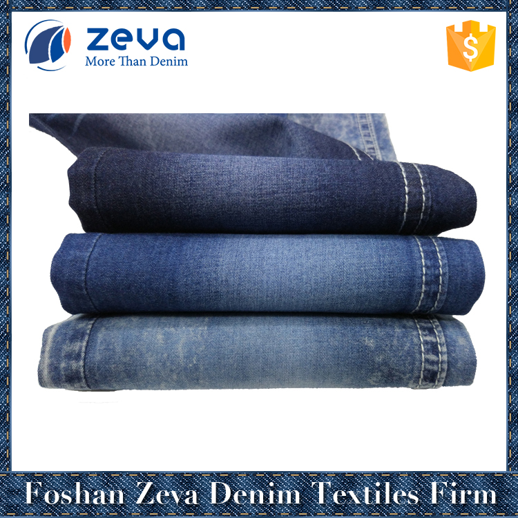 2017 hot sale ultra blue 2/1 plain weave stock 100% cotton textile denim fabric