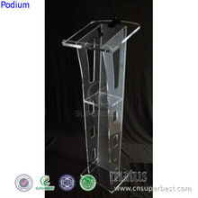 Modern design clear acrylic podium with book end