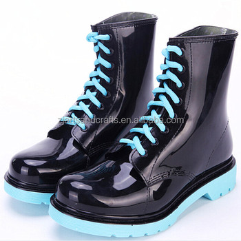 Fashion lsce-up green martin rain shoe pvc rain boot plastic ankle lady boot