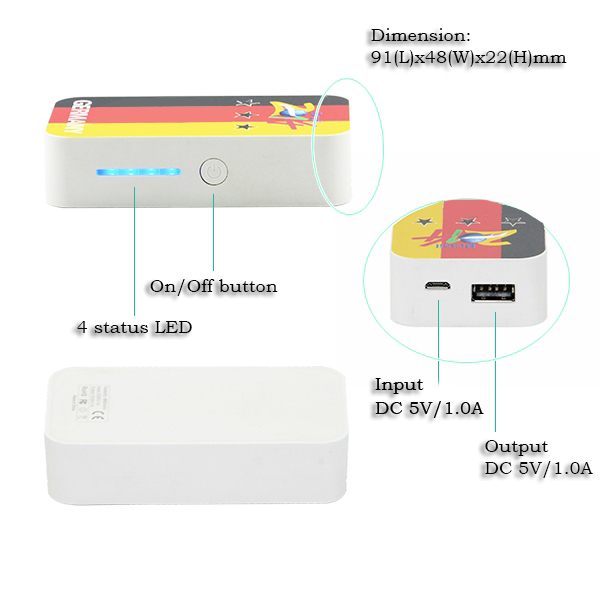 free logo Portable Power Bank External Battery Pack Charger