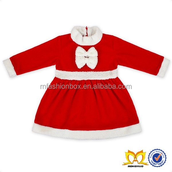 Wholesale Boutinque Santa Cloth Christmas Children Dress Baby Christmas Dress Little Girls