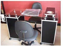 salon furniture custom lockable double manicure station with 10mm