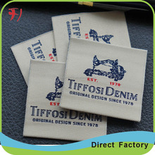 custom designed brand clothing woven fabric label for softextile blank t shirt no label