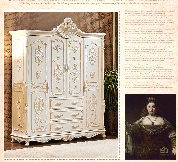 luxury French Style Wardrobe Closet Ivory Carved European Bedroom living room Furniture Wooden Wardrobes
