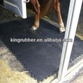 Rubber horse stable wash area mats with interlocking