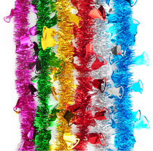 fashion&cheap glitter PET/PVC Christmas tinsel with bell ornament