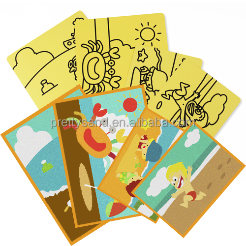 Kids DIY craft supplies sand art cards high quality with 70 excellent deisgns in stock for wholesale