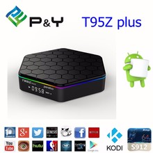 2017 pendoo t95z plus s912 tv box Android 6.0 2G+16G 4k satellite receiver with dual wifi tv box