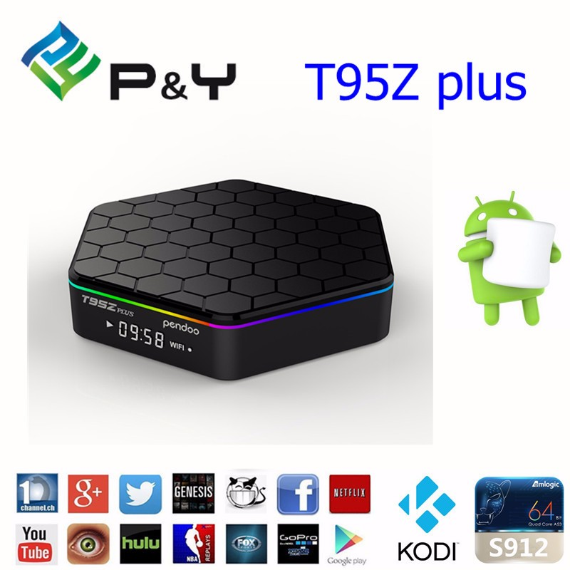 pendoo t95z plus s912 tv box Android 6.0 2G+16G 4k satellite receiver with dual wifi tv box