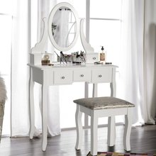 Furniture Room Dresser Stool Dressing Table Mirror With Cabinet
