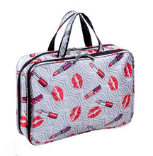 Lipsticks And Lips Printed Large Cosmetic Bag For Travel