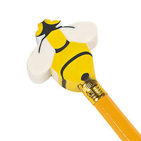 Cheap Novelty Busy Bee Pencil Topper Eraser For Promotion