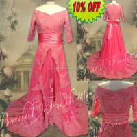 Hot Sale Factory Custom Made Long Good Quality Chiffon Lace Appliqued Christmas Red Wedding Dresses