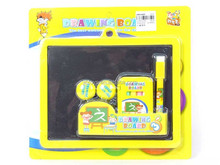 Kids stationery toy black board, Plastic drawing board with pen and chalk EA011837