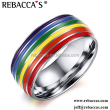 Rebaccas Cheap 316L stainless steel jewelry unisex ring rainbow color ring accessories women rings