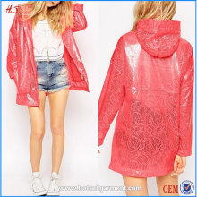 Hot sale cheap price women red bonded lace trench coat style lady pvc raincoat design rain coat
