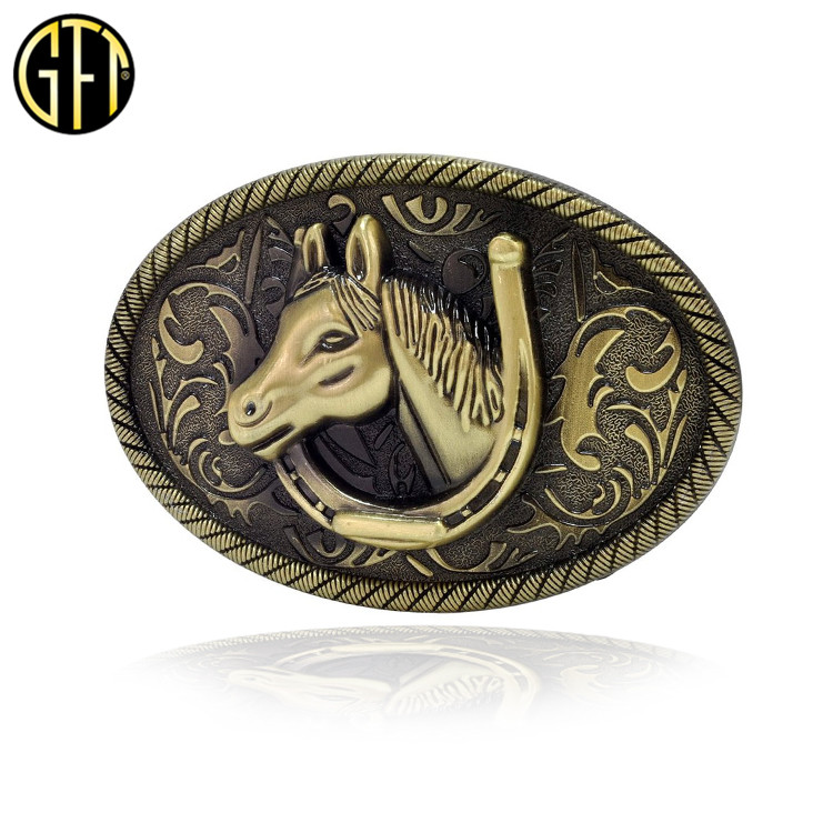 High Quality Personalized Custom Antique Bronze Finish Metal 3D Horse <strong>Buckle</strong> For Men's Belt