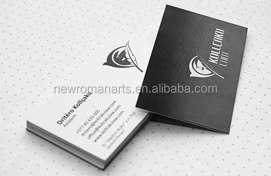 Classical design customized foil stamping business card 600gsm pure black cardboard visiting/name cards high-quality