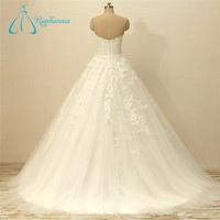 Lace Appliques Tulle Bow Sash Zipper Wedding Dress Online Sale