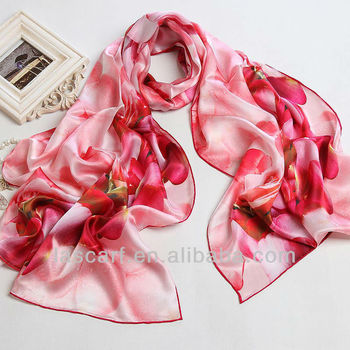 Chinese style silk satin scarf with flower red gift china scarf shawl