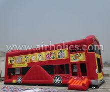 NEW design inflatable red jungle bus bouncer /inflatable jumping bus A3080