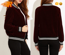 Custom Womens SoftShell Velvet Varsity Baseball Bomber Jacket Wholesale