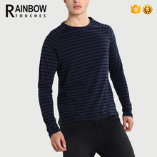 Custom High Quality Long Sleeved Striped Cotton Men's T shirt