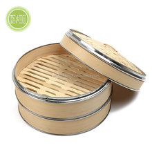 Natural Wholesale Eco-friendly Bamboo Dim Sum Chinese Steamer Basket