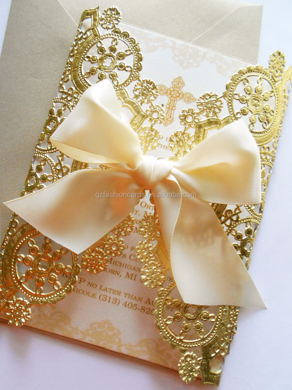 doily style metallic gold invitationfoil paper wedding