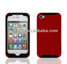 Phone cases for iphone4,2 in 1 Shockproof Case for iphone 4 4S hybrid pc plastic