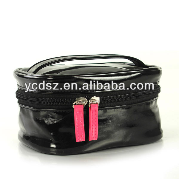 black pvc/pu cosmetic case with handle