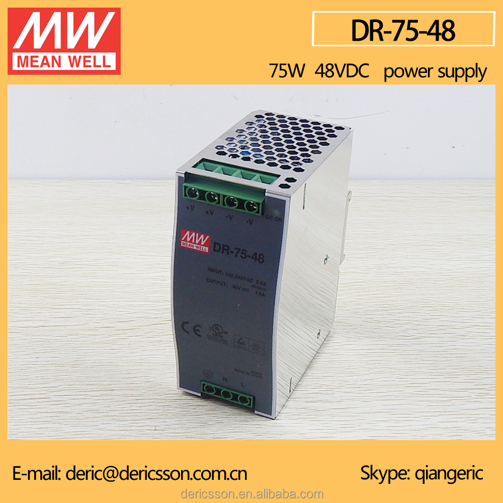 MEAN WELL Single Output 75W Industrial DIN Rail Power Supply 48V DR-75-48