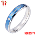 wholesale Stainless steel rings plating blue Bar setting AAA zircon 8mm fashion 8mm stainless steel ring