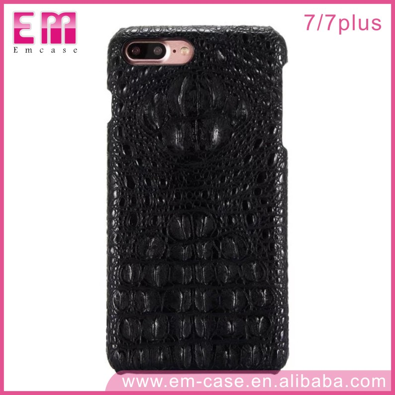 Wholesales Real Leather Phone Case For iPhone 7 3D Crocodile Neck Line Cover Case