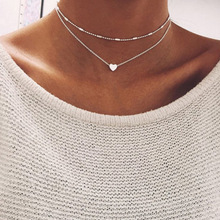 Hot sale minimalist style small love neck chain copper heart double pendant clavicle <strong>necklace</strong>
