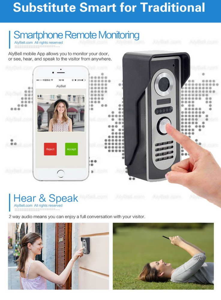 Mobile phone two way intercom wireless WIFI IP Door Bell camera 2.4G Wireless video door phone