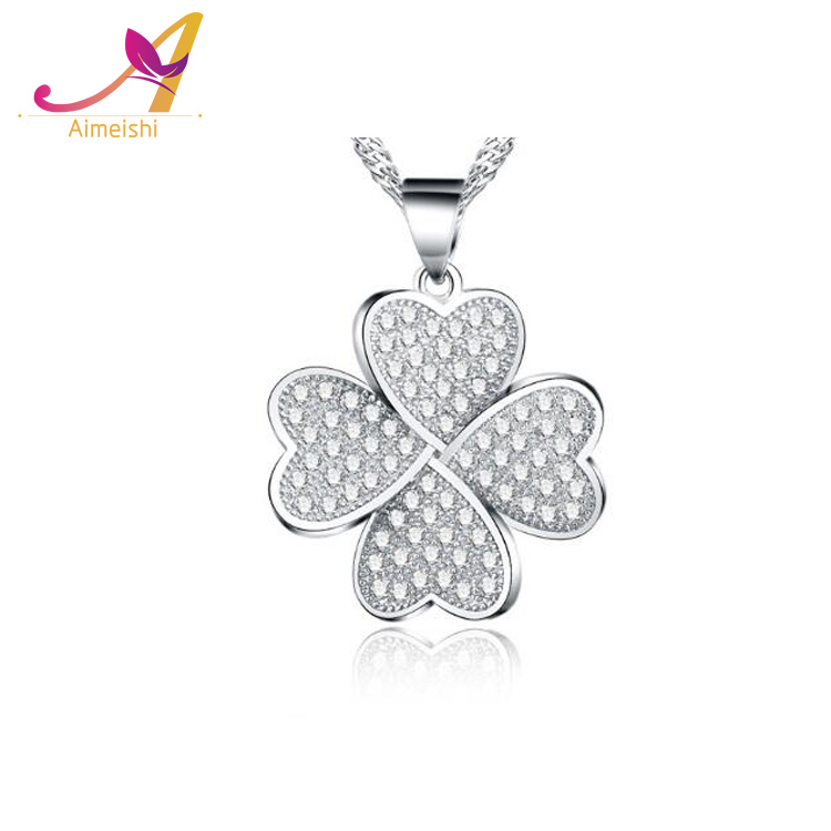 New Arrival Lucky Four Leaf Clover 925 Silver 3A CZ Paved Jewelry Heart Four Clover Pendant