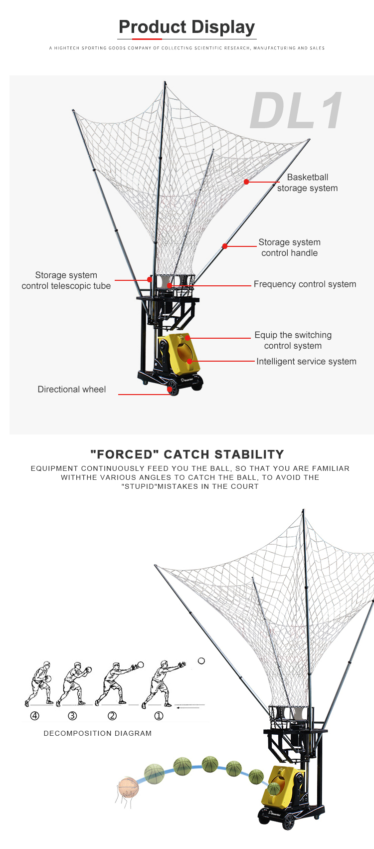Factory industrial basketball shooting machine shoot return system