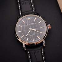 Fantastic Globe Design Men's Leather Strap High Quality Relojes Watch