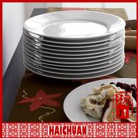 Gold plated dish ,white ceramic plain plate,blank white ceramic dish