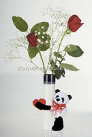 hot sale Valentines gifts plush toys pada bear monkey pug dog with flower vase